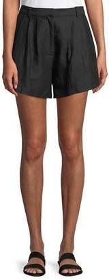 Frame Oversized Pleated Linen-Blend Shorts