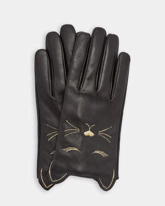 Ted Baker CAAT Cat detail leather gloves