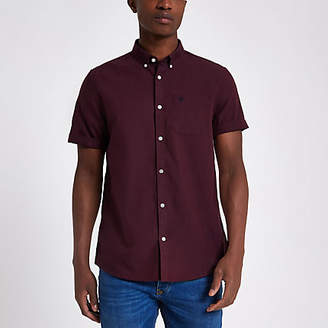 River Island Dark red wasp embroidered Oxford shirt