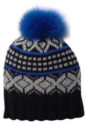 Portolano Genuine Fox Fur Pompom Fair Isle Cashmere Hat