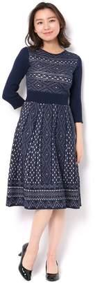 And Couture (アンド クチュール) - アンドクチュール フリップカールダイヤ柄7分袖ワンピース
