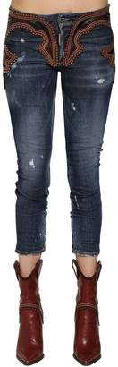DSQUARED2 Cool Girl Leather & Denim Jeans