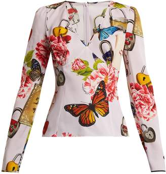 Dolce & Gabbana Printed long-sleeved charmeuse top