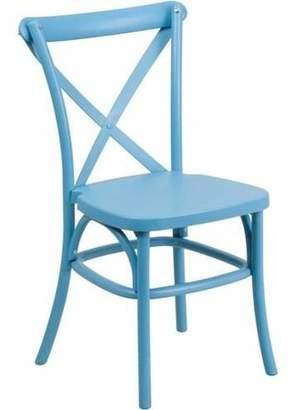 Flash Furniture HERCULES Series Resin Indoor-Outdoor Cross Back Chair with Steel Inner Leg, Multiple Colors