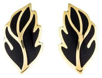 18k Onyx Leaf Clip On Earrings