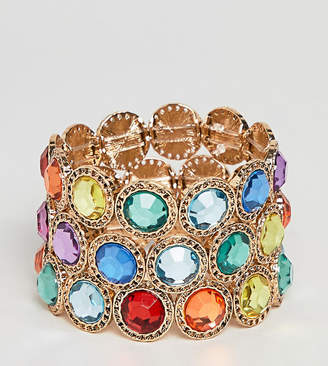 Asos DESIGN Curve Exclusive pack of 3 bracelets with MULTICOLOR jewels in gold