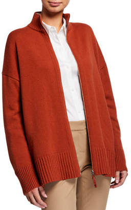 Lafayette 148 New York Cashmere Stand Collar Zip-Front Cardigan