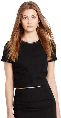 Polo Ralph Lauren Leather-Trim Tweed Crop Top $165 thestylecure.com