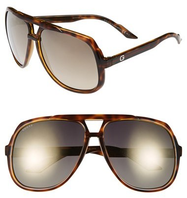 Women's Gucci Vintage Inspired Stripe 63mm Aviator Sunglasses - Havana/ Grey Flash Gold
