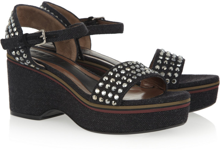 Marni Diamanté-embellished woven wool wedges