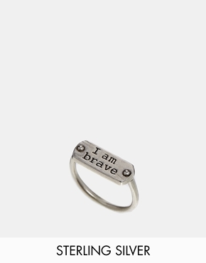 Dogeared Sterling Silver I Am Brave Dogtag Ring - Sterling silver