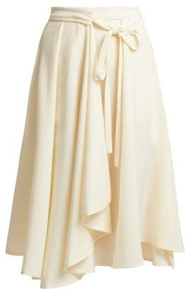 Lemaire High Rise Wool Wrap Midi Skirt - Womens - Cream