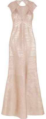 Herve Leger Mesh-trimmed Metallic Bandage Gown - Pink