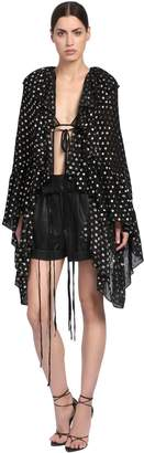 Saint Laurent Ruffled Polka Dot Silk Georgette Top