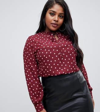 Fashion Union Plus plus tie neck blouse in heart print