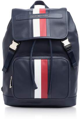 Tommy Hilfiger Tommy Blue Striped Leather Elevated Backpack