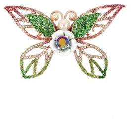Betsey Johnson Fruit Flies Faux Pearl and Crystal Butterfly Pin