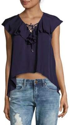 Haute Hippie Ruffled Lace-Up Silk Top