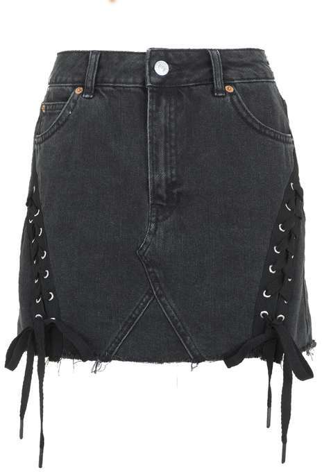 TopshopTopshop Moto lace up denim mini skirt
