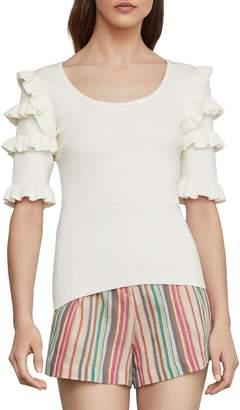 BCBGMAXAZRIA Ruffle-Sleeve Cotton Blend Top