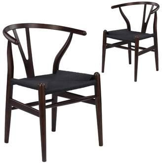 Set of 2 Walnut & Black Hans Wegner Replica Wishbone Chair