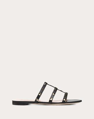 Valentino Garavani Rockstud Flat Slide Sandal Women Light Ivory Calfskin 100% 36.5