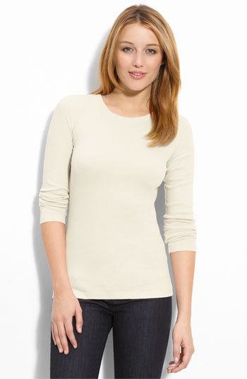 Caslon® 'Perfect' Long Sleeve Crewneck Tee (Petite)