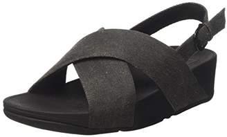 1ac9817d7e04 FitFlop Women s Lulu Cross Back-Strap Sandals Shimmer Open Toe (Black  Denim)