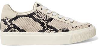 Rag & Bone Army Suede-trimmed Snake-effect Leather Sneakers - Ecru