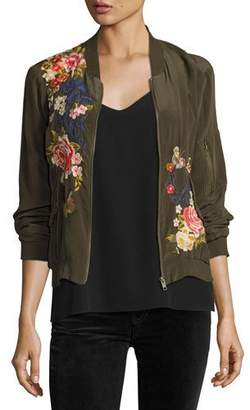 Johnny Was Lucy Crepe de Chine Bomber Jacket, Plus Size