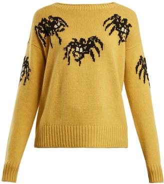 Prada Spider-intarsia wool and cashmere-blend sweater