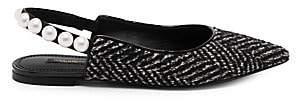 Dolce & Gabbana Women's Tweed Pearl Slingback Flats
