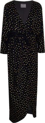 Monique Lhuillier Wrap-Effect Printed Velvet Dress