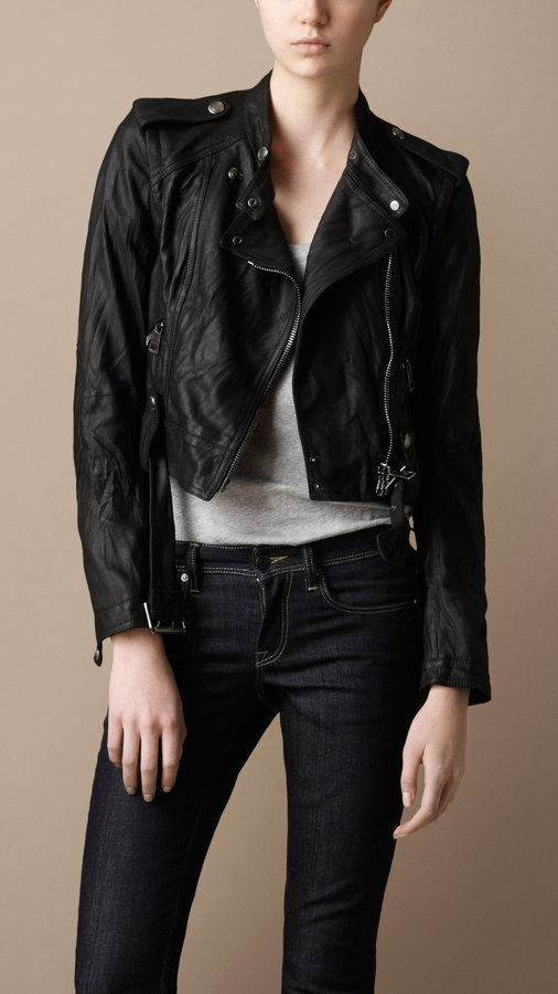 Cropped Washed Leather Biker Jacket