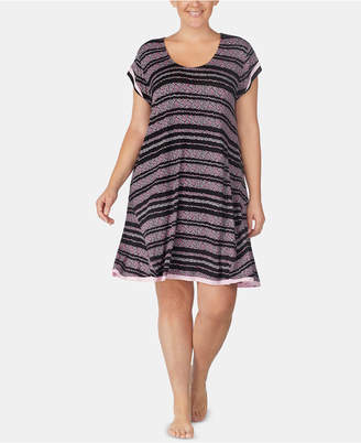 Ellen Tracy Plus Size Floral-Striped Sleepshirt