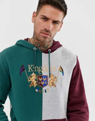 f8dcd6054b Asos Design DESIGN hoodie with cut & sew and text print