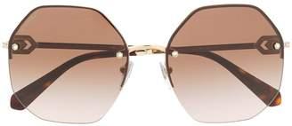 Bulgari round crystal embellished sunglasses