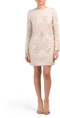 Made In Usa Naomi Long Sleeve Sequin Dress