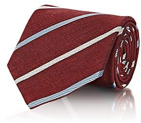 Brioni MEN'S STRIPED SILK-LINEN NECKTIE