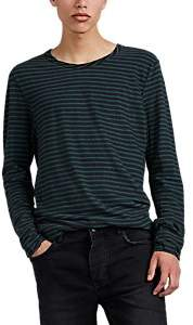 Ksubi Men's Sinister Striped Linen-Cotton Long-Sleeve T-Shirt - Black