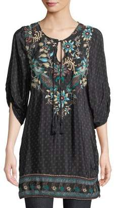 Tolani Nicoli Tassel-Tie Ruched-Sleeve Printed Floral-Embroidered Tunic Dress