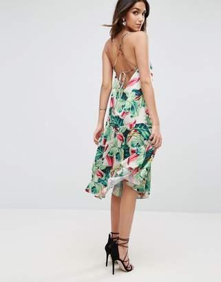 Asos Tropical Print Strappy Back Midi Dress