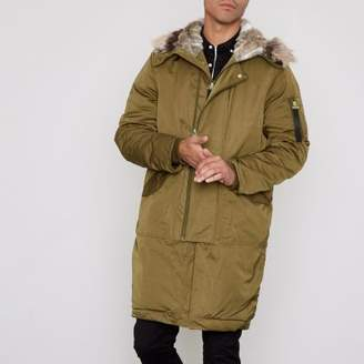 River Island Khaki faux fur lined double zip hooded parka