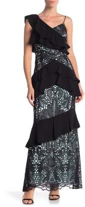 ML Monique Lhuillier Ruffled One Shoulder Lace Gown