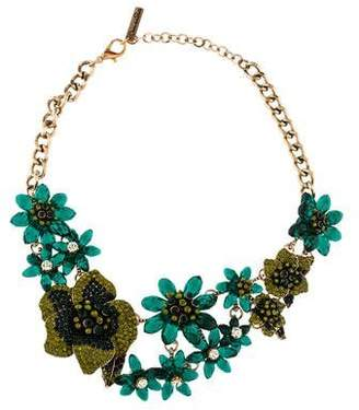 Oscar de la Renta Floral Crystal & Bead Necklace
