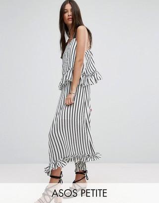 ASOS Petite ASOS PETITE Maxi Dress with Ruffle Detail & Grosgrain Straps in Mono Stripe $68 thestylecure.com