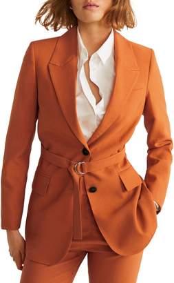 MANGO Tulipan Belted Suit Blazer