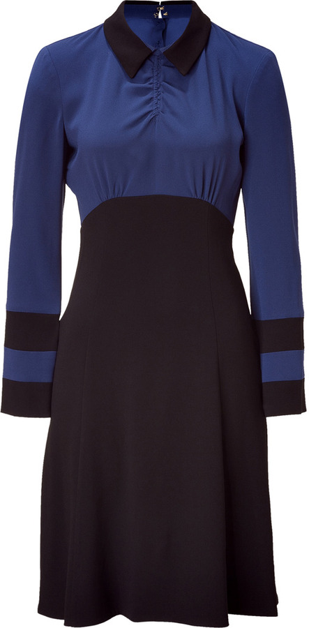 Marc by Marc Jacobs Medieval Blue Colorblock Anya Crepe Dress