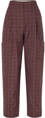 Tibi Checked Woven Cargo Pants - Brown