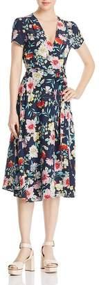 Yumi Kim Spin Me Around Floral-Print Silk Midi Wrap Dress